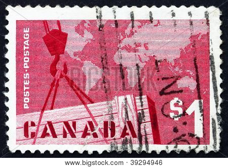 Postage stamp Canada 1963 Export Crate and Mercator Map