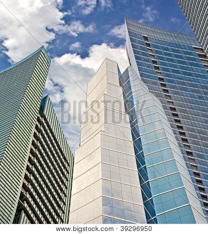Financial buildings pointing to the sky