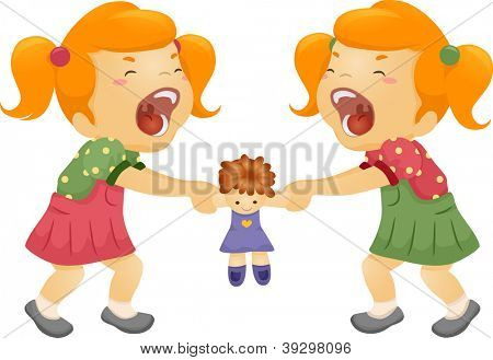 Illustration of Twin Sisters Fighting Over a Doll