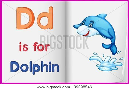 Illustration of the letter D in a book