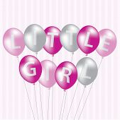 stock photo of niece  - Little Girl pink balloon card in vector format - JPG