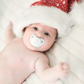 xmas baby with santa claus cap