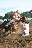 image of barrel racer  - Barrel racer at the Hondo rodeo - JPG
