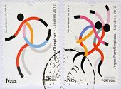 PORTUGAL - CIRCA 2012: Stamps printed in Portugal dedicated to the Olympic and Paralympic Games in L
