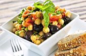 picture of vegetarian meal  - Vegetarian meal of chickpea or garbanzo beans salad - JPG