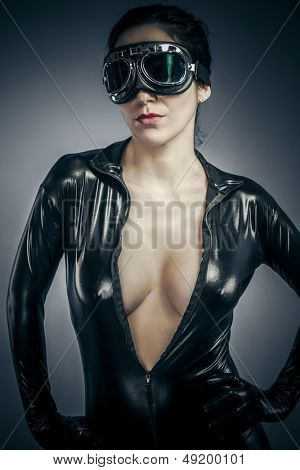 Sensual woman with latex costume