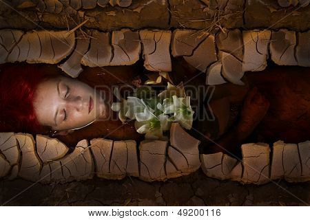 Young drown woman in a poetic representation, red hair girl