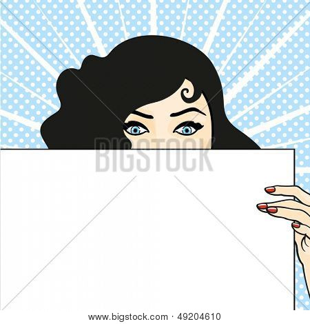 Woman with a sheet of paper, expressing surprise