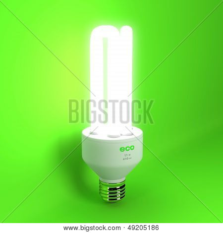 3d render of glowing eco lightbulb on green background