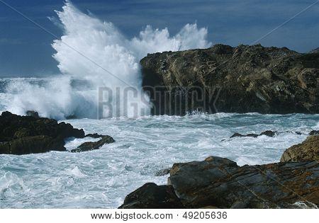 USA California Point Lobos waves splashing on rocks at Pacific coast