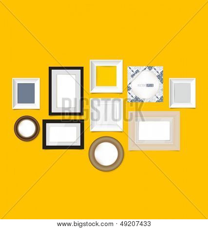 Picture frames, photo art gallery on vintage wall. Vector EPS10