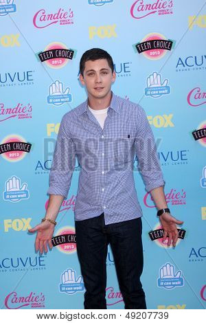 LOS ANGELES - AUG 11:  Logan Lerman at the 2013 Teen Choice Awards at the Gibson Ampitheater Universal on August 11, 2013 in Los Angeles, CA