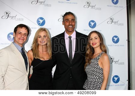 LOS ANGELES - AUG 10:  Christian LeBlanc, Jessica Collins, Eliza Dushku, Rick Fox at the Angel Awards at the Project Angel Food on August 10, 2013 in Los Angeles, CA