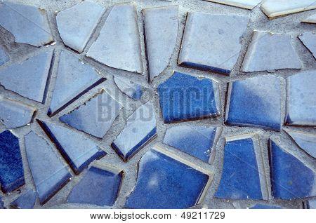 Blue Broken Tile Set In Grout
