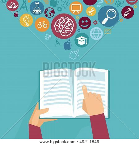 Vector Education Concept - Hands Holding Book