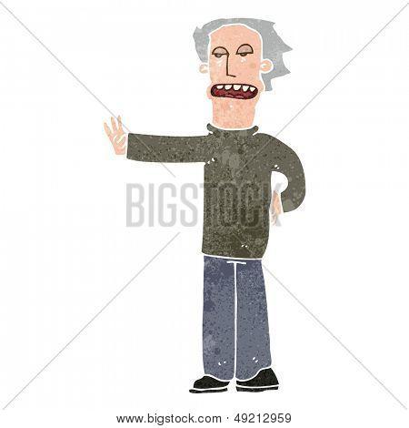 retro cartoon man gesturing to halt
