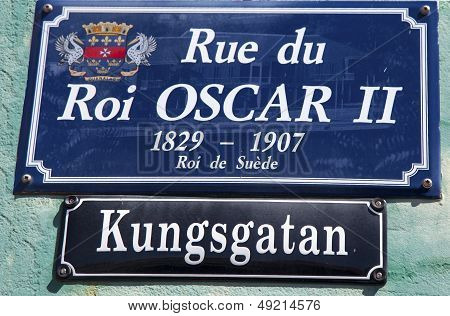 Street signs in St. Barts posted in Swedish along with their French name