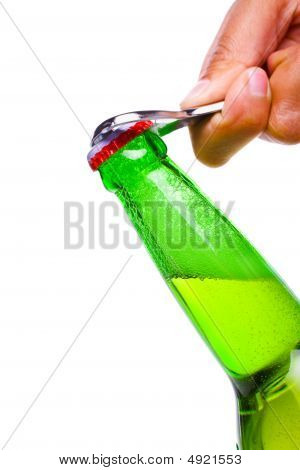 Beer Bottle Being Opened