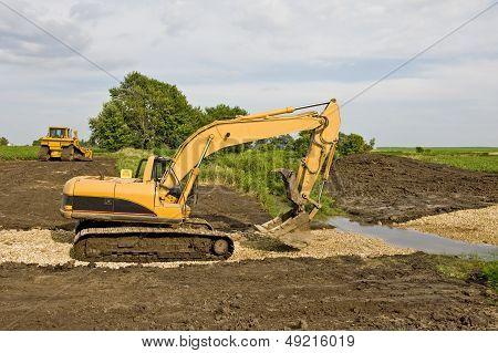 Excavator & Bulldozer On Job Site