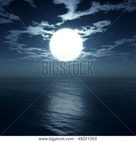 Moon under ocean - digital artwork