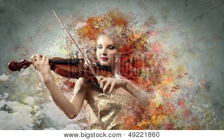 Image of beautiful female violinist playing against colorful background