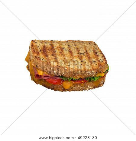 Grilled Panini Sandwich On Multigrain Bread. Isolated.