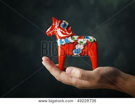 A Hand-made traditional wooden Dalecarlian Horse (