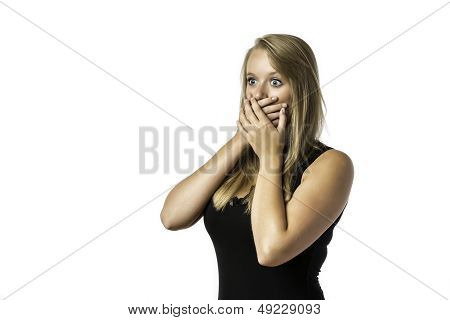 Shocked Young Girl In Black Shirt