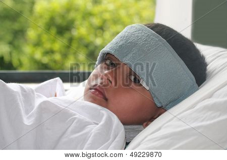 Young Indian Boy(kid) Suffering High Fever(flu) & Getting Treatment