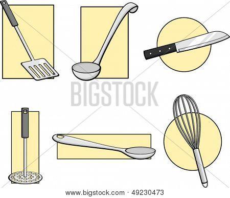 kitchen tools illustrations set