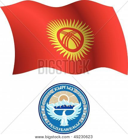 Kyrgyzstan Wavy Flag And Coat