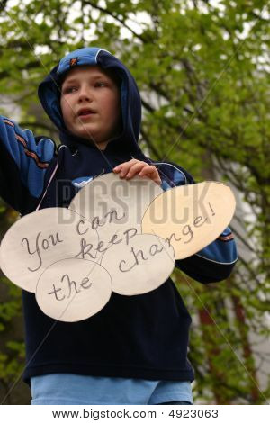 Tea Party 2009 Boy Holding Keep The Change Sign