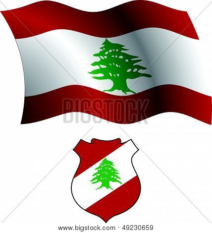 Lebanon Wavy Flag And Coat