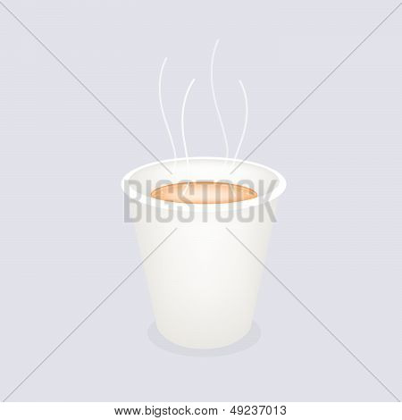 A Hot Coffee In Disposable Cup On Blue Background
