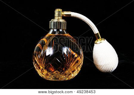 Glass crystal perfume bottle.