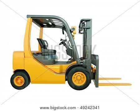 Modern forklift truck isolated on