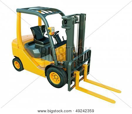 Modern forklift truck isolated on white background
