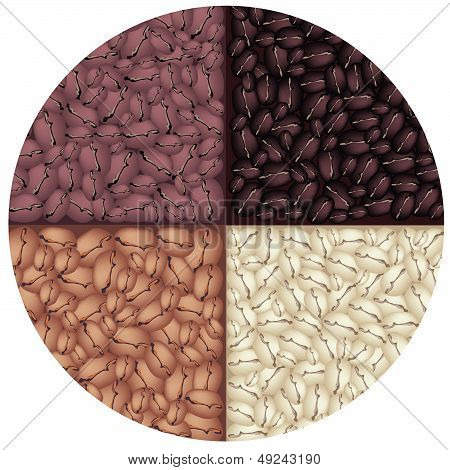 Four Colors Of Roasted Coffee In Circle Background