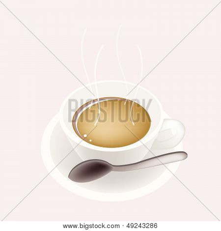 A Smoking Hot Coffee On Pink Background