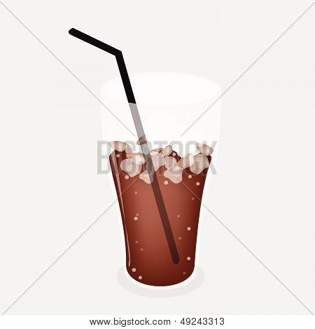 Iced Coffee Or Iced Tea On Grey Background