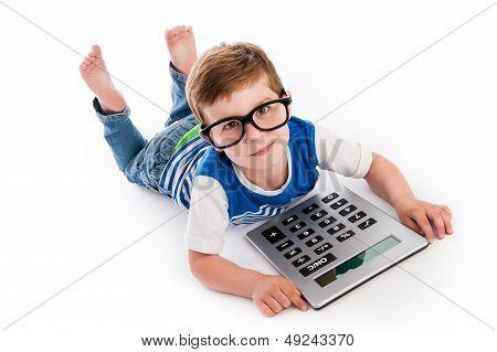 Geeky Boy With Big Claculator.