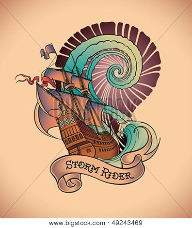 Old-school styled tattoo of a galleon on the background of a great water swirl. Editable vector illustration.