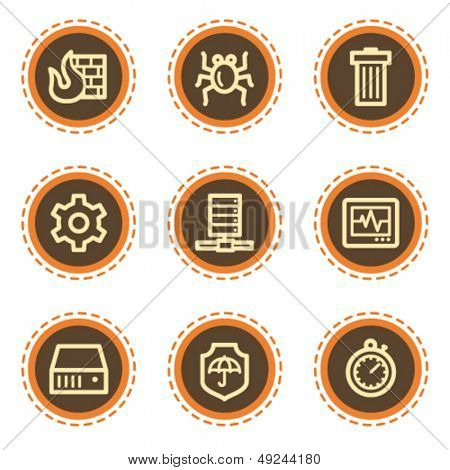 Internet security web icons, vintage buttons