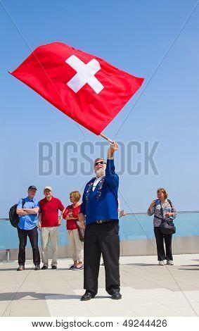 MOUNT PILATUS - JULY 13: Unidentified man demonstrating traditional swiss
