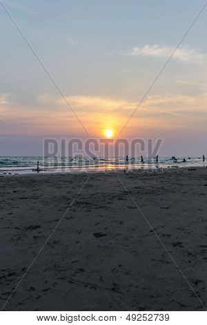 Beautiful Evening Sea Landscape With Sunset , Rayong Thailand