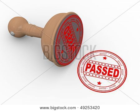 3D Wooden Rubber Stamp Passed