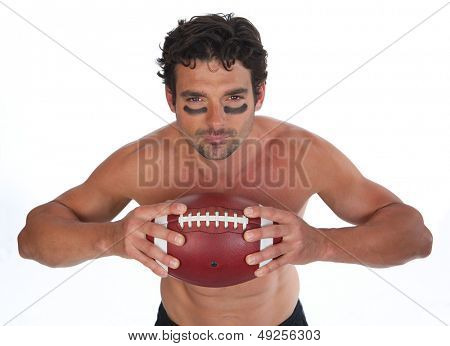 American Football Player on White Background with a Football