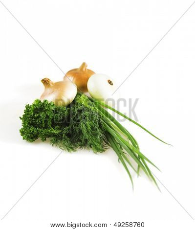 onions and greens on a white background