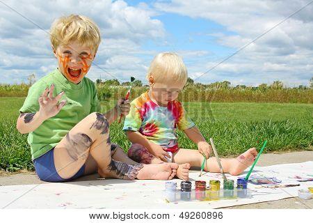 Messy Children Painting