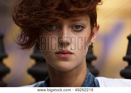Portrait Of Hipster Girl With Lip Piercing